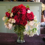 Simple elegance: white bouganvilla and Don Juan red roses