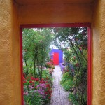 Exit from the courtyard back through Kate's Organic Flower Garden