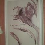 "Monte Schatz ""Cymorvortical Alizarin"" Acrylic on Paper 48"" by 36"""