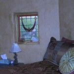 There are three antique stained glass windows in the Lotus Suite.