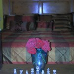Fresh flowers and a chess set.