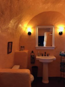 With a constilation built into the roof and a west facing door - This bathroom has the most stunning light at sunset.